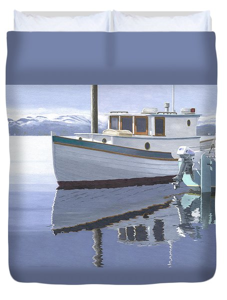 Duvet Cover featuring the painting Winter Moorage by Gary Giacomelli