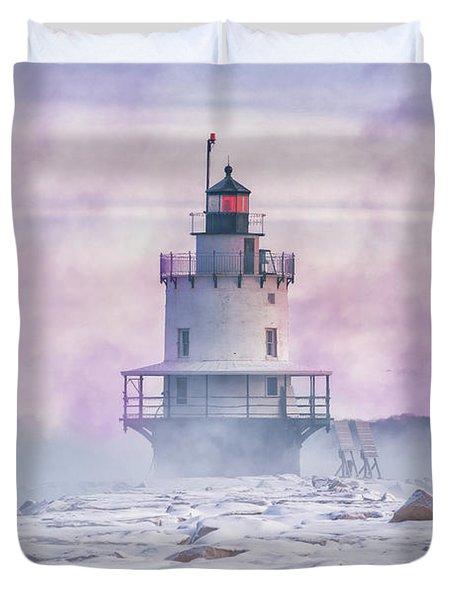 Winter Morning At Spring Point Ledge Duvet Cover