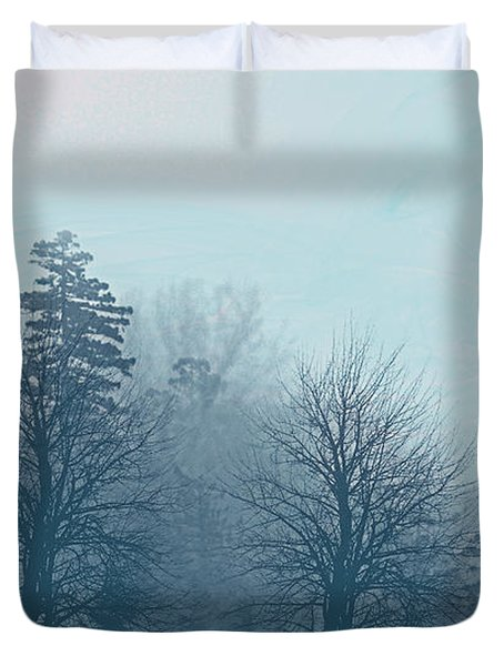 Duvet Cover featuring the digital art Winter Morning by Milena Ilieva
