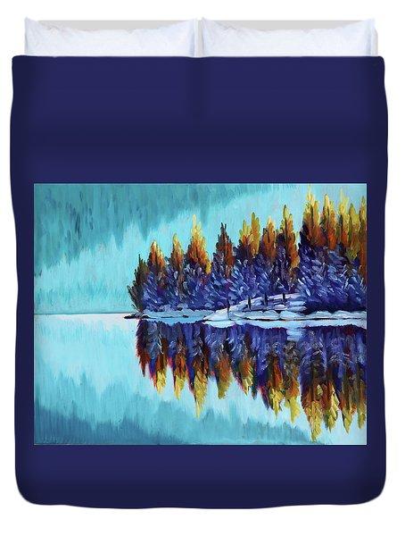 Winter - Mountain Lake Duvet Cover