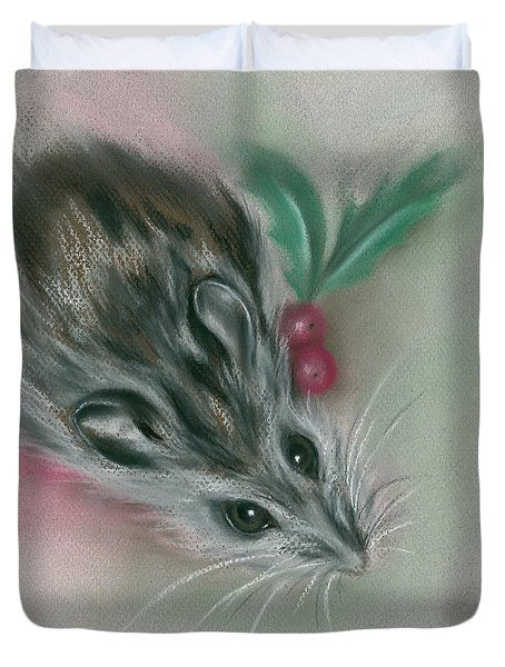 Winter Mouse With Holly Duvet Cover