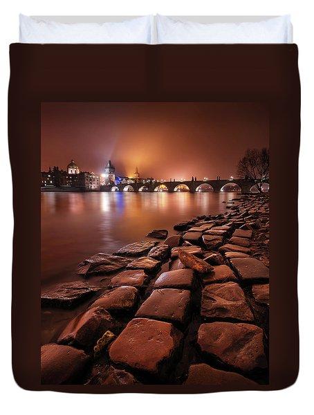 Winter Night Near Charles Bridge In Prague, Czech Republic Duvet Cover