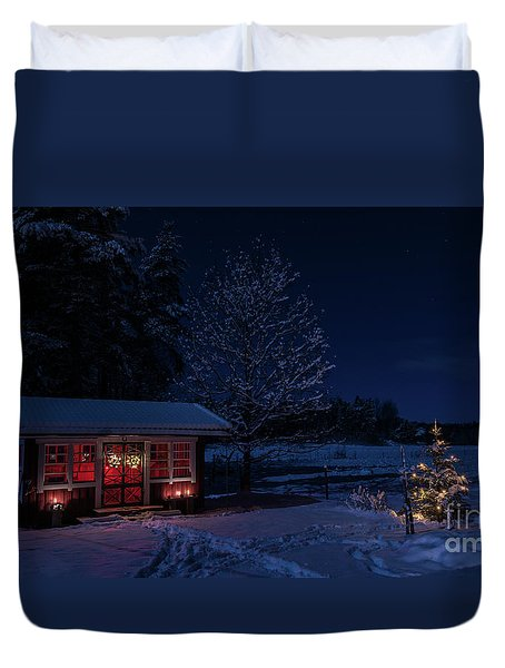 Duvet Cover featuring the photograph Winter Night by Torbjorn Swenelius