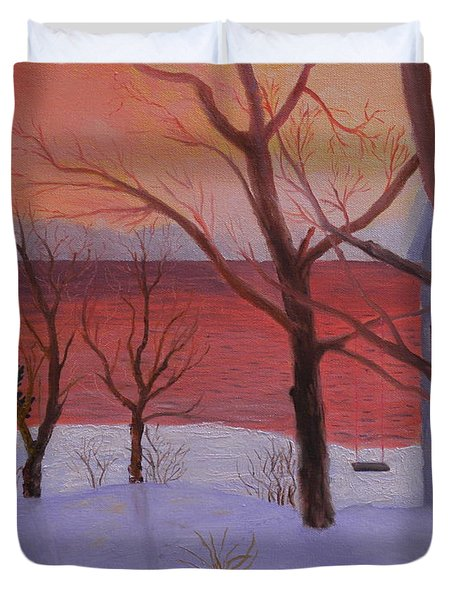 Winter Ocean Sunrise Duvet Cover