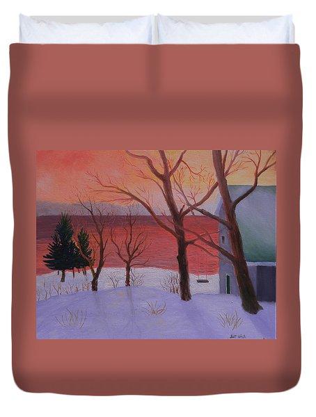 Winter Ocean Sunrise Duvet Cover