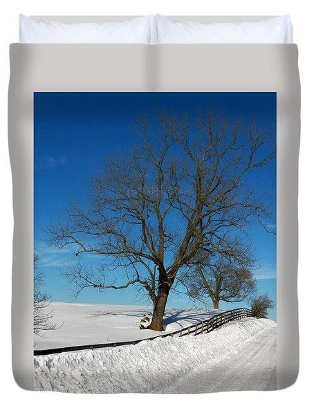 Winter On A Country Road Duvet Cover