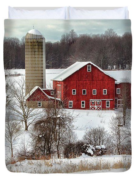 Winter On A Farm Duvet Cover