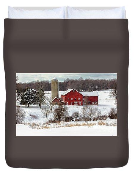 Winter On A Farm Duvet Cover