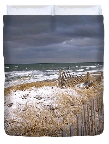 Winter On Cape Cod Sandy Neck Beach Duvet Cover
