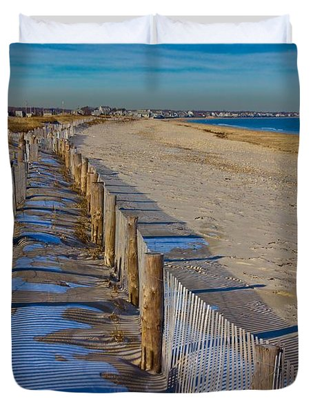 Winter On Duxbury Beach Duvet Cover