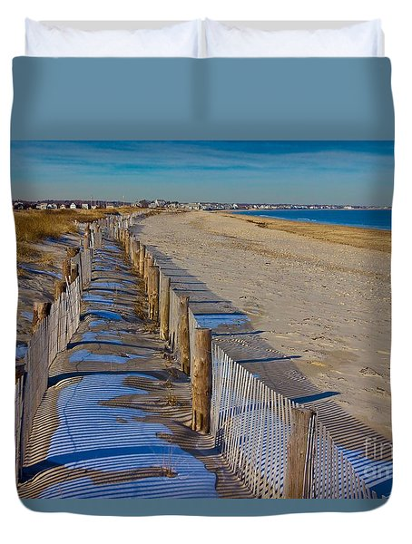 Winter On Duxbury Beach Duvet Cover by Amazing Jules