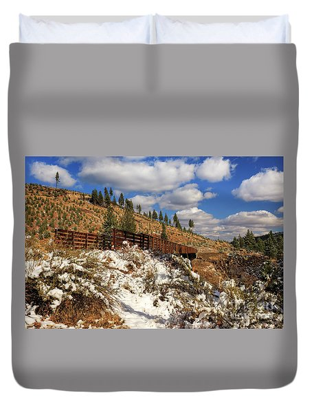 Winter On The Bizz Johnson Trail Duvet Cover by James Eddy