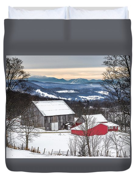 Winter On The Farm On The Hill Duvet Cover