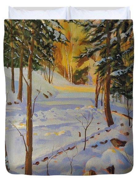 Winter On The Lane Duvet Cover