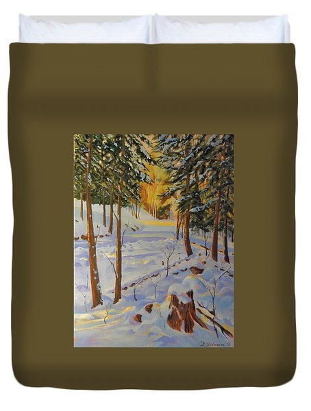 Winter On The Lane Duvet Cover