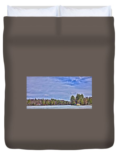 Duvet Cover featuring the photograph Winter On The Pond by David Patterson