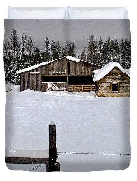 Winter On The Ranch Duvet Cover