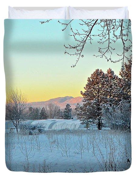 Winter On The Tree Farm Duvet Cover