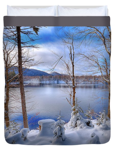 Winter On West Lake Duvet Cover by David Patterson