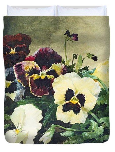Winter Pansies Duvet Cover by Louis Bombled