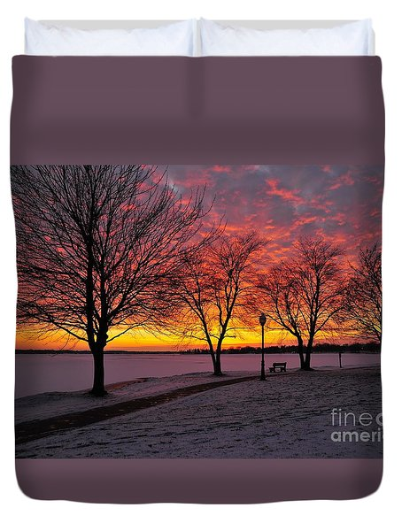 Duvet Cover featuring the photograph Winter Park by Terri Gostola