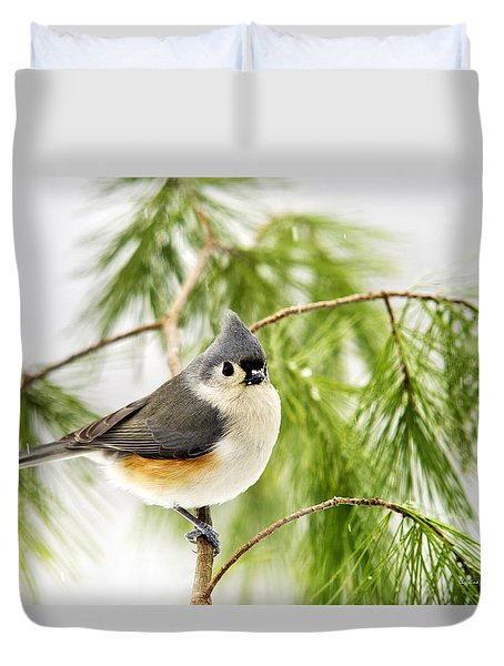 Winter Pine Bird Duvet Cover by Christina Rollo