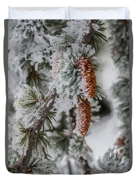 Winter Pine Cones Duvet Cover