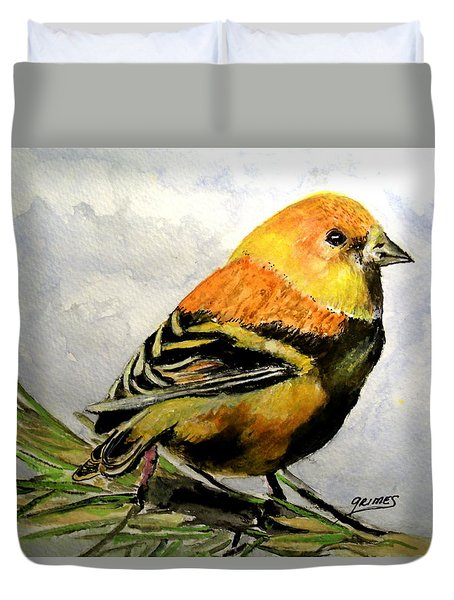 Winter Plumage On Golden Finche Duvet Cover
