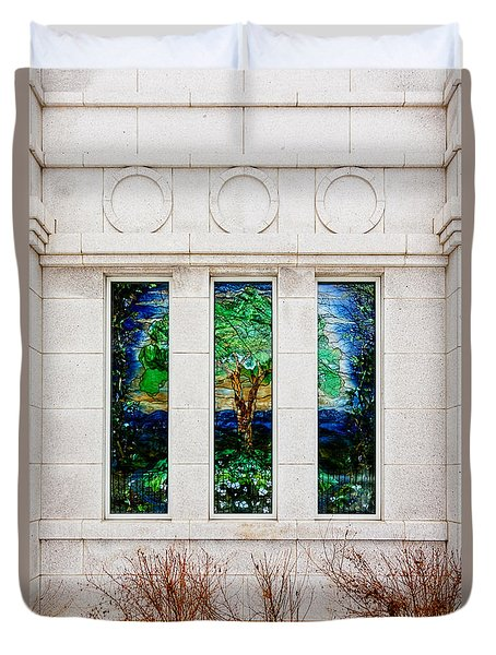 Winter Quarters Temple Tree Of Life Stained Glass Window Details Duvet Cover