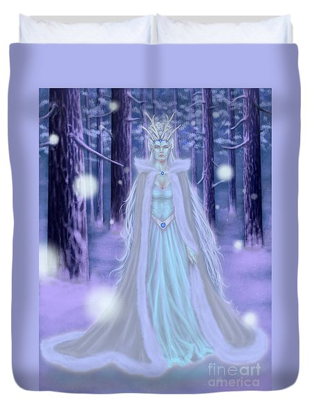 Duvet Cover featuring the painting Winter Queen by Amyla Silverflame