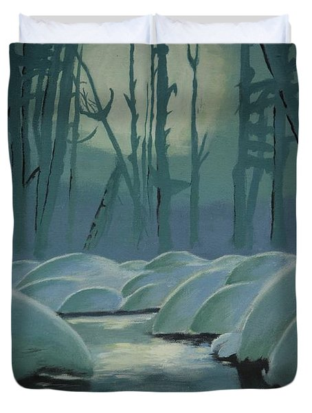 Duvet Cover featuring the painting Winter Quiet by Jacqueline Athmann