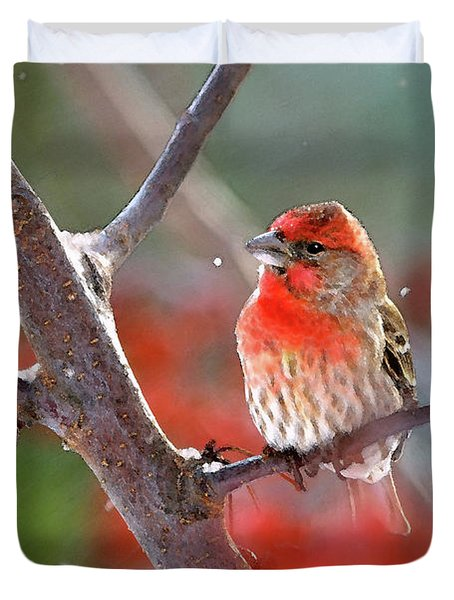 Winter Red Duvet Cover by Betty LaRue