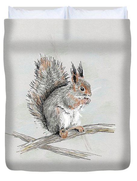 Winter Red Squirrel Duvet Cover