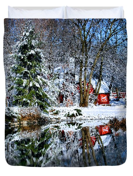 Winter Reflection Duvet Cover by Kristin Elmquist
