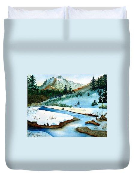 Winter Retreating Duvet Cover by Karen Stark