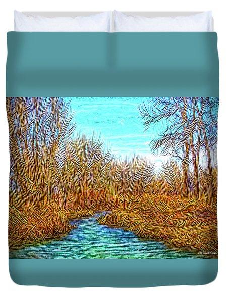 Winter River Breeze Duvet Cover