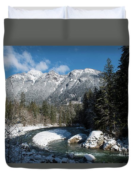 Winter River Duvet Cover