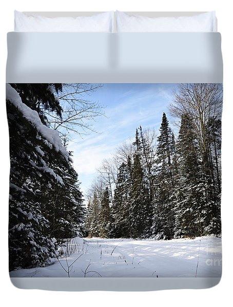 Duvet Cover featuring the photograph Winter Road 2 by Larry Ricker