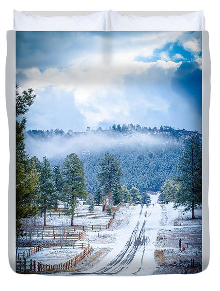 Duvet Cover featuring the photograph Winter Road by Jason Smith
