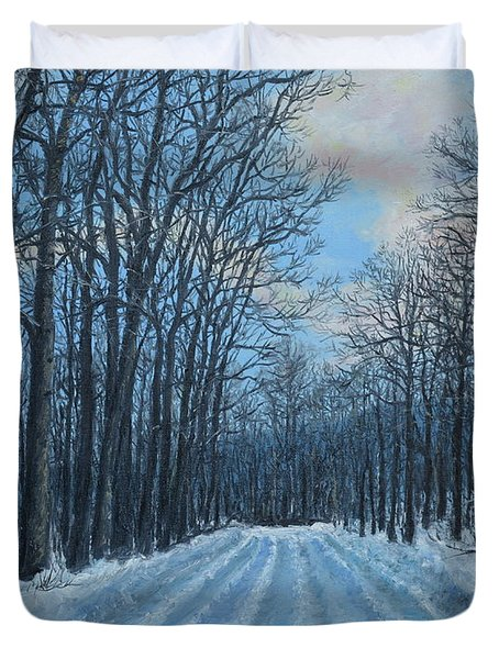 Duvet Cover featuring the painting Winter Road To The Gas Well by Kathleen McDermott