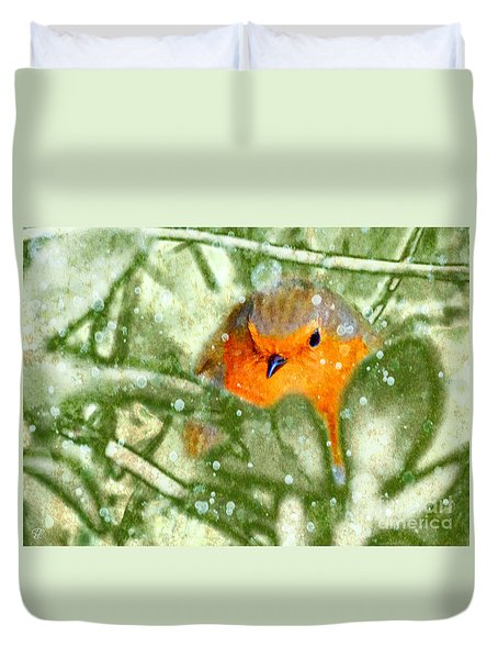 Winter Robin Duvet Cover