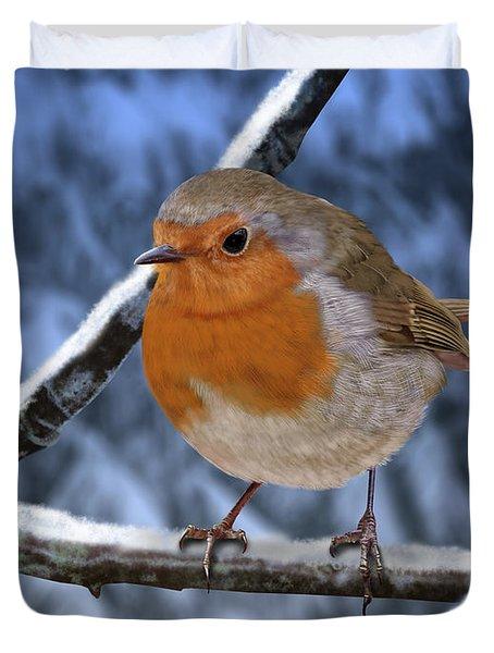 Winter Robin Duvet Cover
