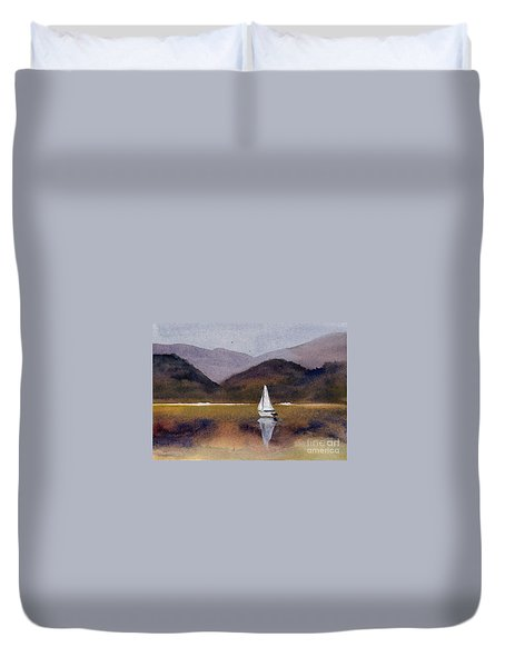 Winter Sailing At Our Island Duvet Cover