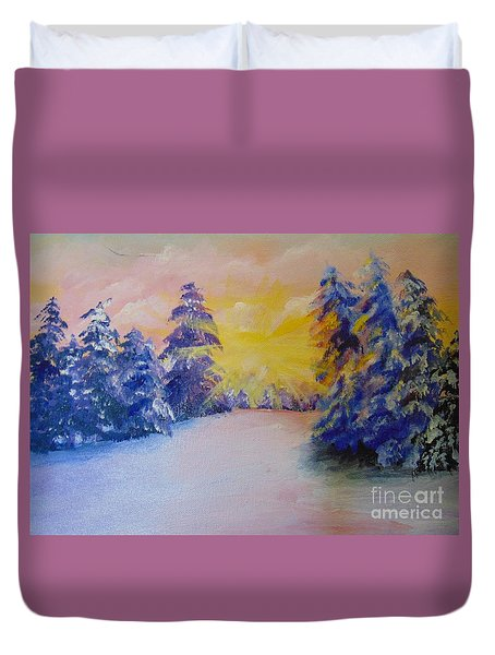 Duvet Cover featuring the painting Winter by Saundra Johnson