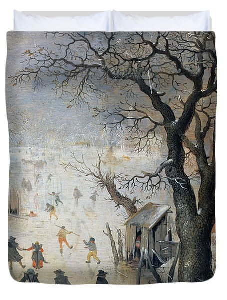 Winter Scene Duvet Cover by Hendrik Avercamp