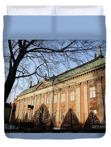 Winter Scene In Stockholm Duvet Cover