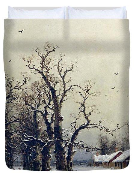 Winter Scene Duvet Cover by Nils Hans Christiansen
