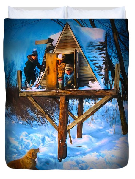 Winter Scene Three Kids And Dog Playing In A Treehouse Duvet Cover