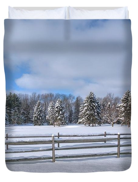 Duvet Cover featuring the photograph Winter Scenery 14589 by Guy Whiteley