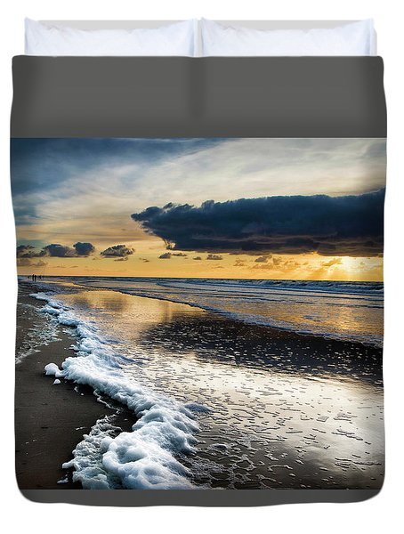 Winter Sea Sunset Duvet Cover